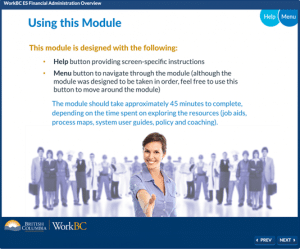 Screenshot of WorkBC Training course