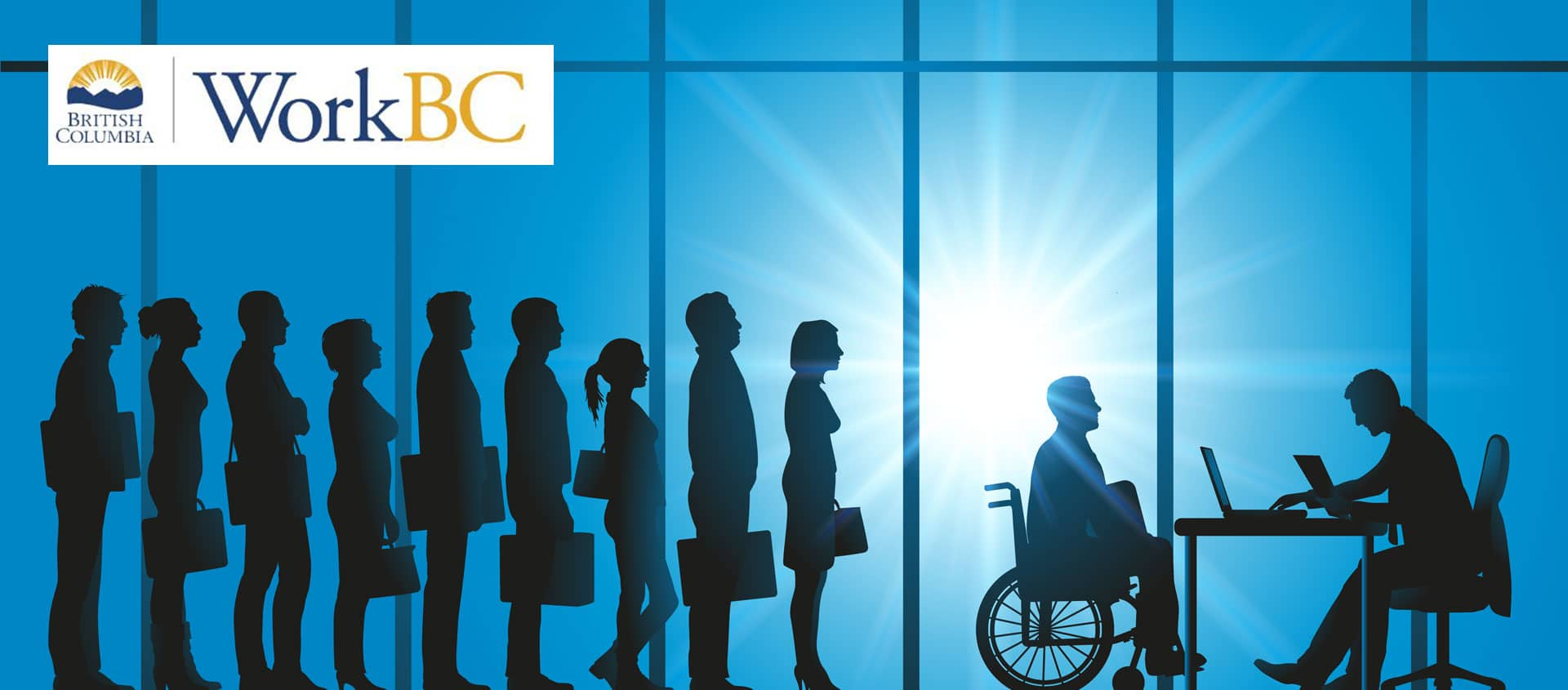 WorkBC Logo on a photo of office workers silhouettes
