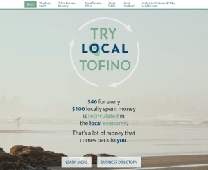 Screenshot of Try Local Tofino website