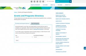 screenshot of Columbia Basin Trust website