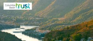 Columbia Basin Trust logo on a photo of the BC landscape