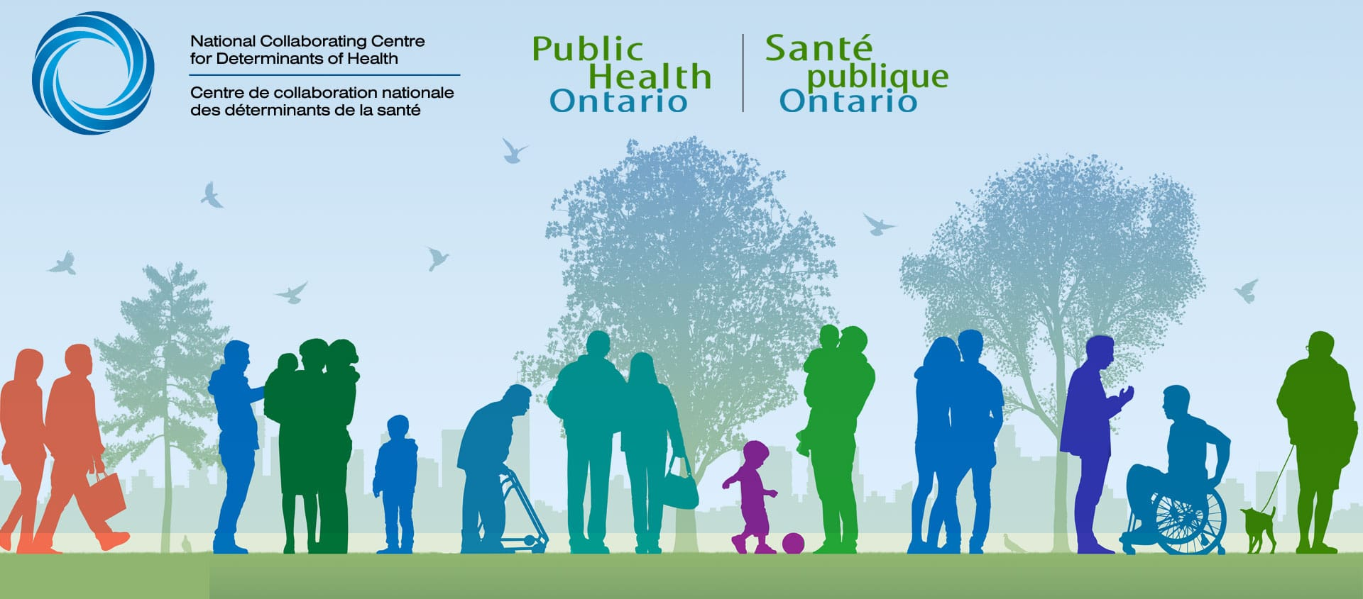 National Collaborating Centre for Determinants of Health and Publich Health Ontario Logo on animated background