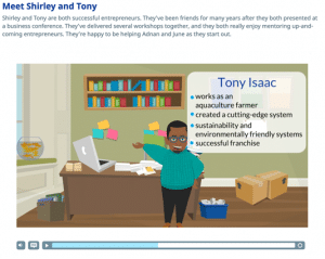 Screenshot of an animated video in a course