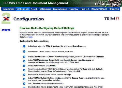 Ministry of Forests and Range – EDRMS Email and Document Management