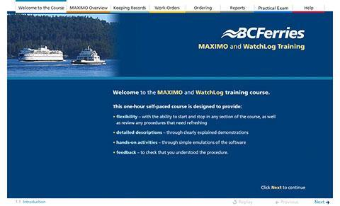British Columbia Ferry Corporation – Maximo and WatchLog Training