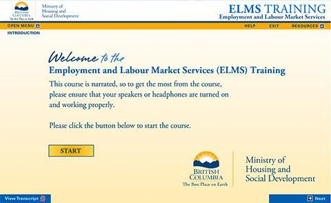 Ministry of Housing and Social Development – Employment and Labour Market Services Training